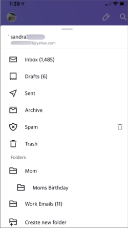 Image of folders in the Yahoo Mail app.